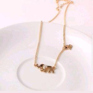 Gold Tone Mommy Elephant w/ Baby Elephant Necklace